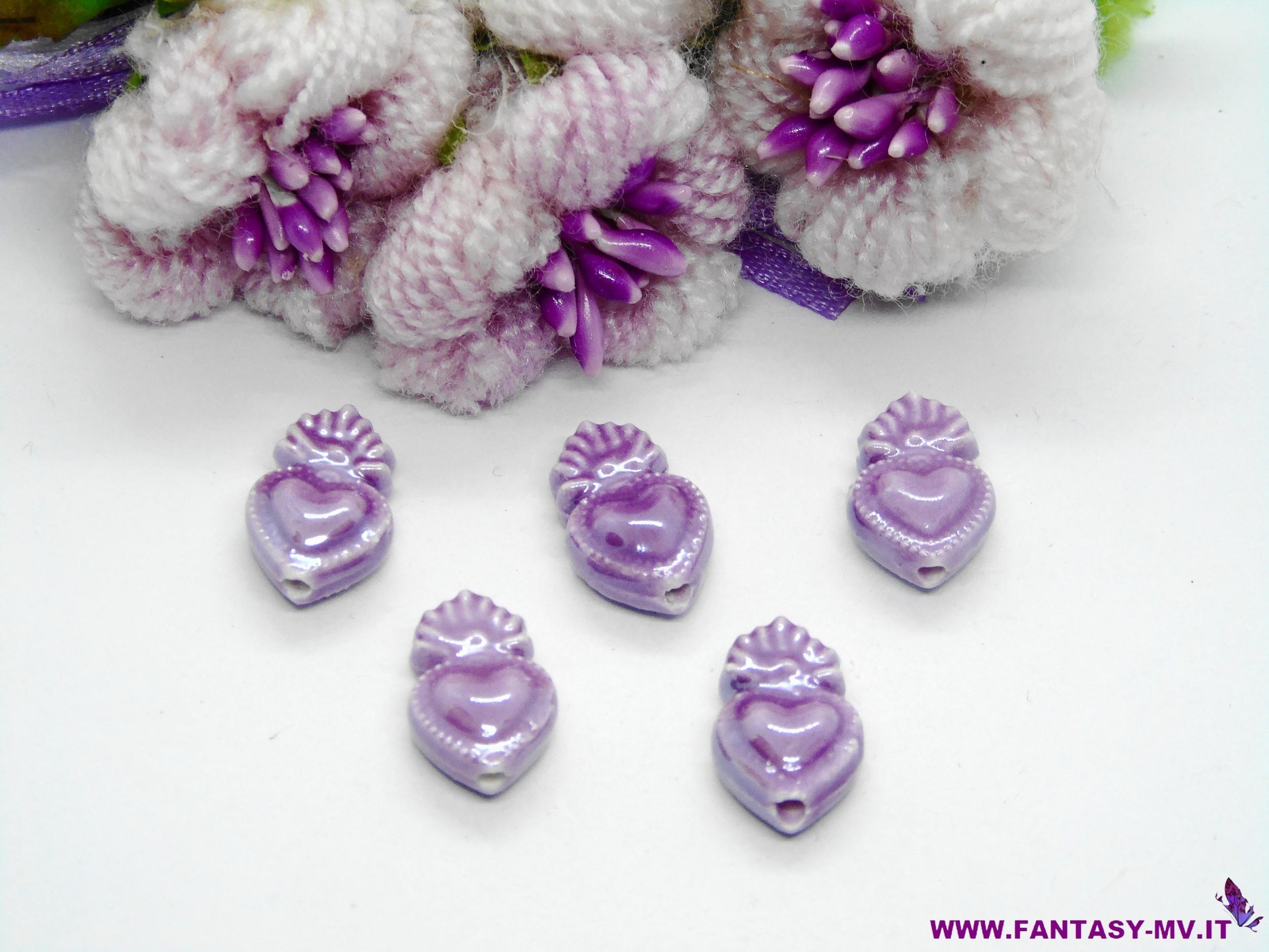 Perla in ceramica Cuore Sacro effetto madre perla 10x17mm - Lilla